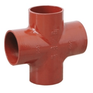Non-flared four-way pipes for sewage systems