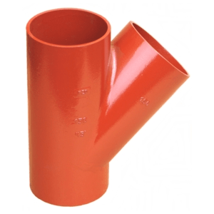 Non-flared three-way pipes for sewage systems